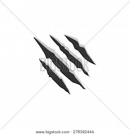 Claw Scratchs Black Silhouette. Vector Werewolf Symbol
