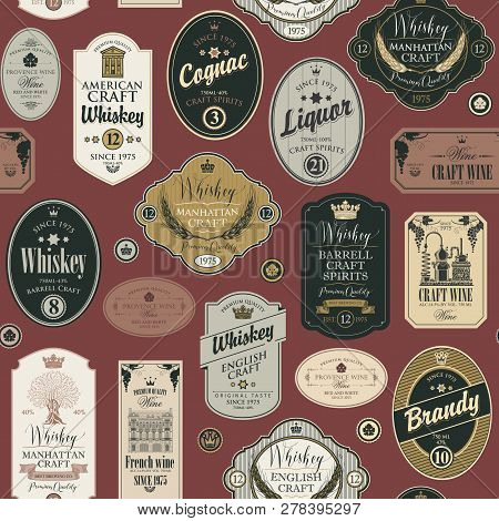 Vector Seamless Pattern With Collage Of Labels For Various Alcoholic Beverages On A Burgundy Backgro