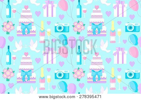 Vector Illustration Of Wedding Seamless Pattern With Diferent Elements