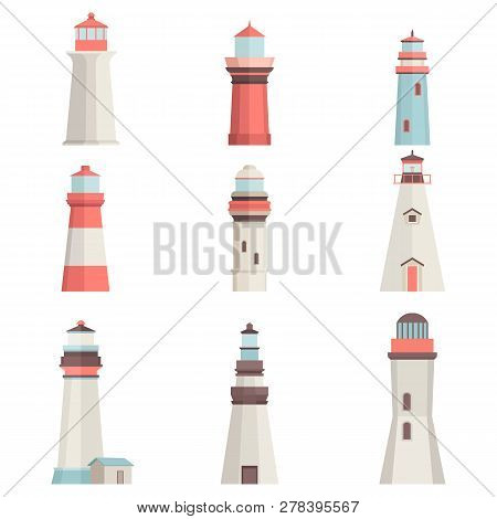 Big Set Cartoon Flat Lighthouses Isolated On White. Maritime Navigational Light Tower. Lighthouse Ve