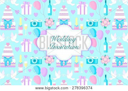 Vector Illustration Of Wedding Invitation Card With Diferent Elements