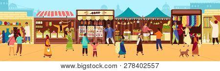 Arab Or Asian Outdoor Street Market, Souk Or Bazaar. People Walking Along Stalls, Buying Fruits, Mea