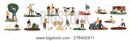 Set Of Farmers Or Agricultural Workers Planting Crops, Gathering Harvest, Collecting Apples, Feeding
