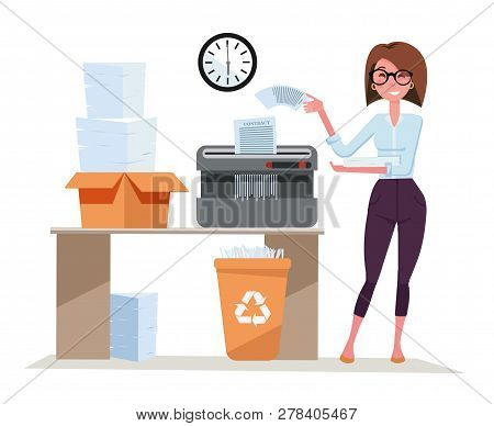 Girl Office Worker Works With Shredder, Terminates A Pack Of Documents. Compact Shredder Stands On T