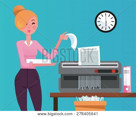 Blond Woman Employee Shredding The Pile Of Paper Documents In Small Table Shedder. The Shredded Pape