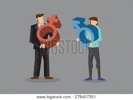 Man Carrying Red Female Symbol And Woman Holding Blue Male Symbol. Vector Cartoon Illustration On Ge
