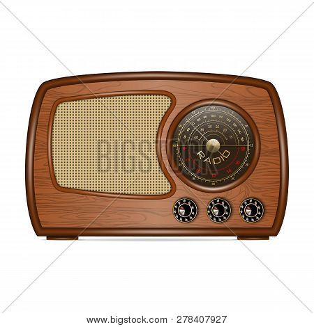 Retro Radio Icon. Realistic Illustration Of Retro Radio Vector Icon For Web Design Isolated On White