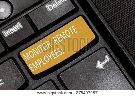 Writing Note Showing Monitor Remote Employees. Business Photo Showcasing Tracking The Time Spend By
