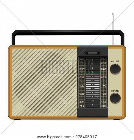 Old Fm Radio Icon. Realistic Illustration Of Old Fm Radio Vector Icon For Web Design Isolated On Whi