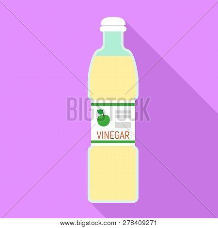 Apple Vinegar Bottle Icon. Flat Illustration Of Apple Vinegar Bottle Vector Icon For Web Design