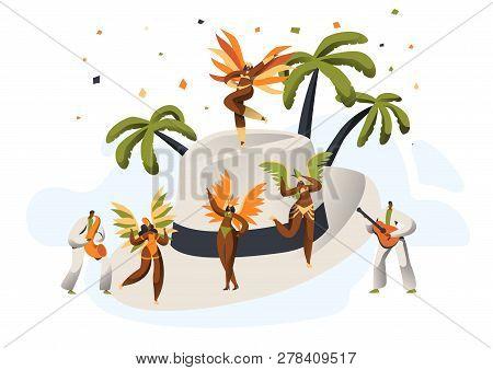 Brazilian Samba Carnival Latino Character Straw Hat. Bikini Feather Woman Dance Tropical Cuban Tango