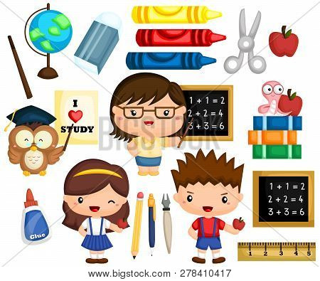 A Vector Set Of Many Item And Object Related To School