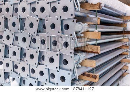 Design of reinforcement frame reinforcement for concrete frame house, brick house, formwork for concreting, construction site, construction of houses poster