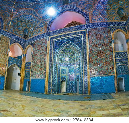 Yazd, Iran - October 18, 2017: The Rich Mosaics And Tile Decorations In Jameh Msque With A View On I