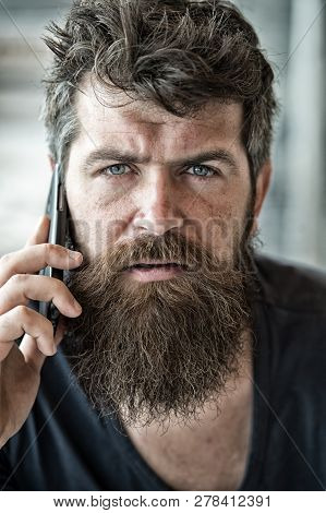 Hipster Bearded Communicate Smartphone Call. Mobile Communication. Communication Concept. Man With B