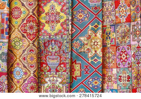 The Colorful Textiles, Decorated With Ornate Islamic, Bedouin Tribal, Floral And Other Patterns In S