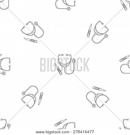 Stethoscope, Thermometer Icon. Outline Illustration Of Stethoscope, Thermometer Vector Icon For Web