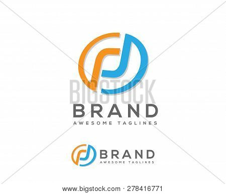 Letter Pd, Dp Initial Overlapping In Circle Letter Logotype