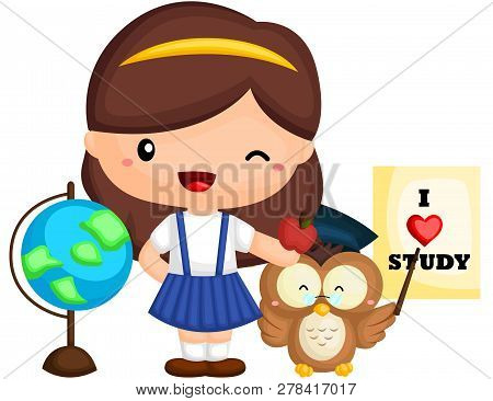 A Vector Of A Cute And Adorable Girl Student