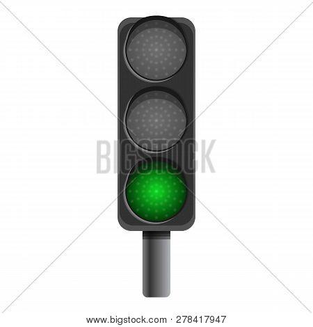 Pillar Semaphore Green Light Icon. Cartoon Of Pillar Semaphore Green Light Vector Icon For Web Desig