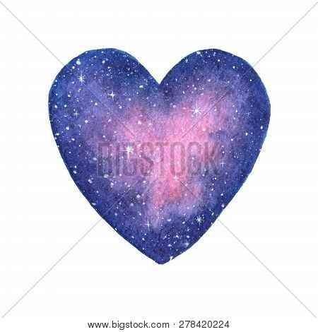 Hand Painted Watercolor Space Illustration In Shape Of A Heart Isolated On The White Background. Sai