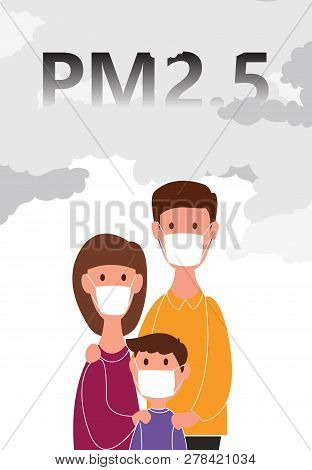Family Wearing A Dust Mask N95 For Protection Minute Dust Pm2.5 On White Background With Concepts. V