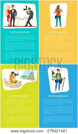 Photographers Taking Picture With Photo Equipment. Reportage From Film Stars Fest, Photojournalist A