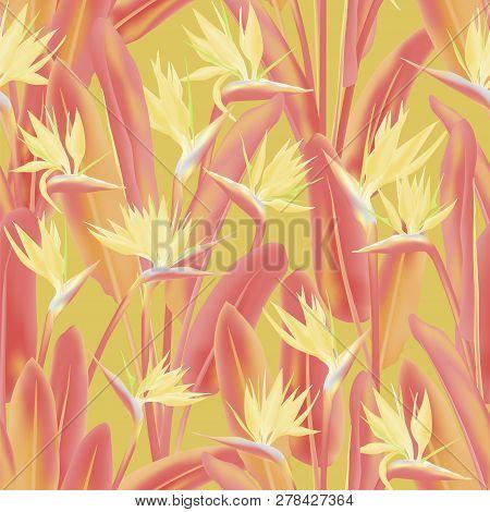 Jungle Plant Paradise Tropical Summer Fabric Design. Bird Of Paradise Tropical Flower Vector Seamles