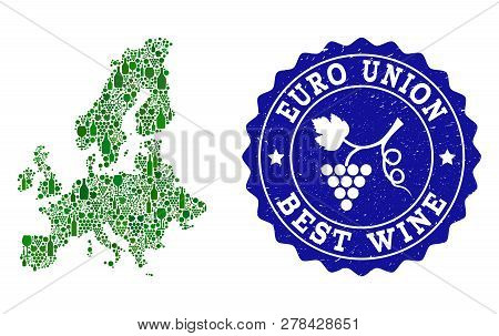 Vector Collage Of Wine Map Of Euro Union And Best Grape Wine Grunge Seal Stamp. Map Of Euro Union Co