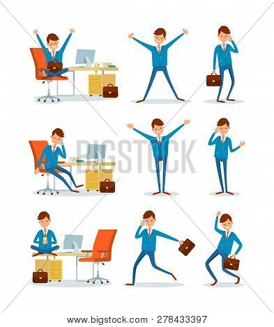 Businessman Working In Office, Ceo With Briefcase Running To Work Vector. People In Business, Man Ta