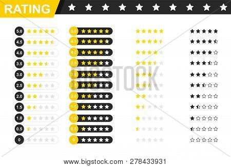 Rating Stars Badges. Feedback Or Rating. Rank, Level Of Satisfaction Rating. Five Stars Customer Pro