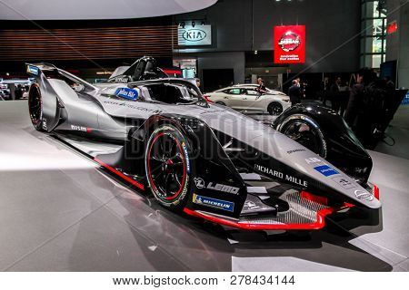 NEW YORK, NY-MARCH 28, 2018: Nissan Formula E shown at the New York International Auto Show 2018, at the Jacob Javits Center. This was Press Preview Day One of NYIAS.