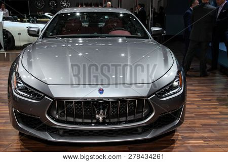 NEW YORK, NY-MARCH 28, 2018: Maserati Ghibli shown at the New York International Auto Show 2018, at the Jacob Javits Center. This was Press Preview Day One of NYIAS.