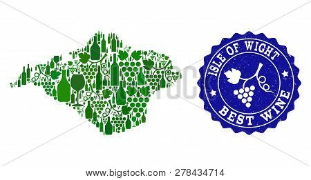 Vector Collage Of Wine Map Of Isle Of Wight And Best Grape Wine Grunge Watermark. Map Of Isle Of Wig