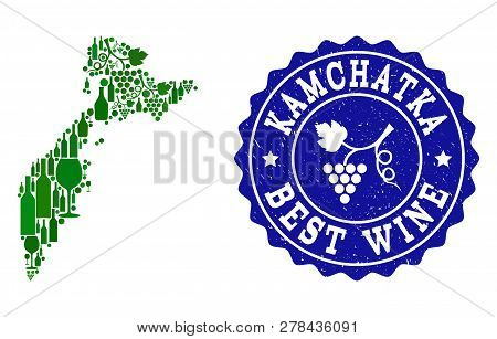 Vector Collage Of Wine Map Of Kamchatka Peninsula And Best Grape Wine Grunge Watermark. Map Of Kamch