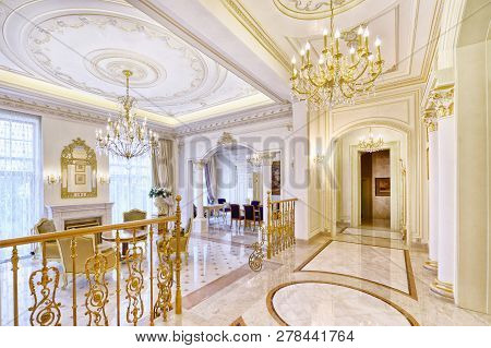 Luxurious Interiors In A Modern House.the Interior Of The Hall.