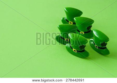 St Patrick Day Hat Pattern On Green Background. Copyspace
