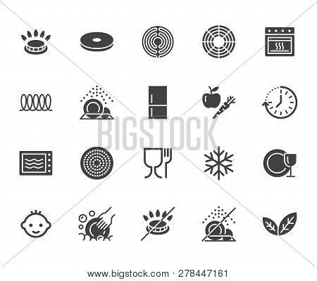 Utensil Flat Glyph Icons Set. Gas Burner, Induction Stove, Ceramic Hob, Non-stick Coating, Microwave
