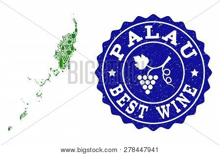 Vector collage of wine map of Palau Islands and best grape wine grunge watermark. Map of Palau Islands collage composed with bottles and grape berries bunches. poster