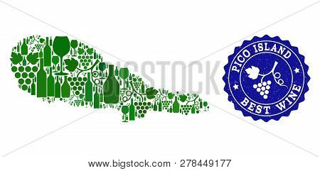 Vector Collage Of Wine Map Of Pico Island And Best Grape Wine Grunge Seal Stamp. Map Of Pico Island