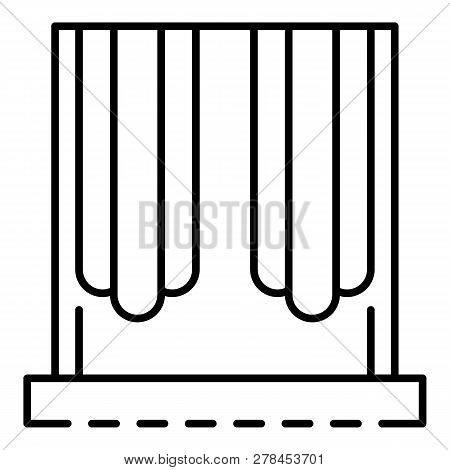 French Curtain Icon. Outline French Curtain Vector Icon For Web Design Isolated On White Background