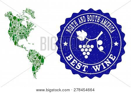 Vector Collage Of Wine Map Of South And North America And Best Grape Wine Grunge Seal Stamp. Map Of
