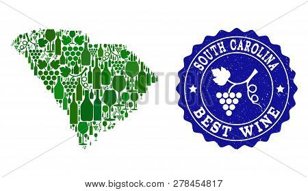 Vector Collage Of Wine Map Of South Carolina State And Best Grape Wine Grunge Seal Stamp. Map Of Sou