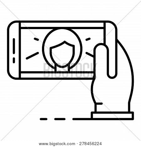 Woman Take Selfie Icon. Outline Woman Take Selfie Vector Icon For Web Design Isolated On White Backg