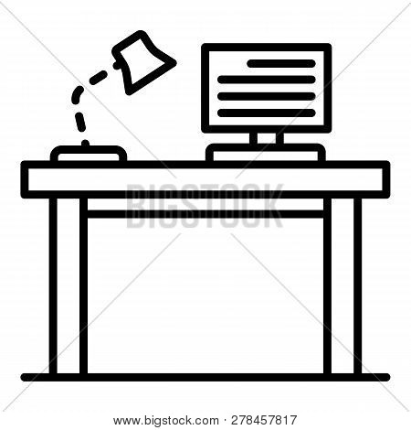 Pc Homework Table Icon. Outline Pc Homework Table Vector Icon For Web Design Isolated On White Backg