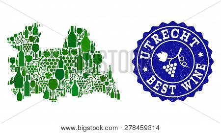 Vector Collage Of Wine Map Of Utrecht Province And Best Grape Wine Grunge Seal. Map Of Utrecht Provi