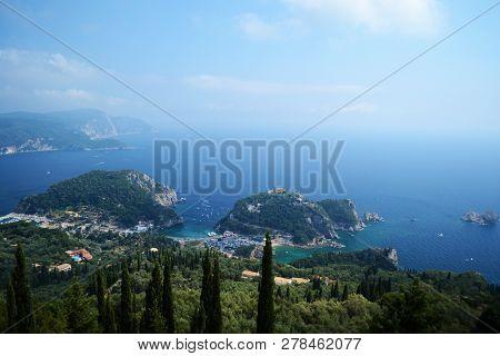View of Paleokastritsa bays from Bellas Vista turistic point. poster