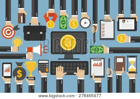 Crypto Currency Concept Flat Design Business.computer With Bitcoin Currency.vector Illustration