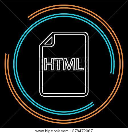Download Html Document Icon - Vector File Format Symbol. Thin Line Pictogram - Outline Stroke
