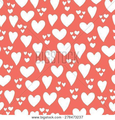 Hearts Seamless Vector Pattern Background. Hand Drawn Hearts Isolated Coral Red, White. Use For Card
